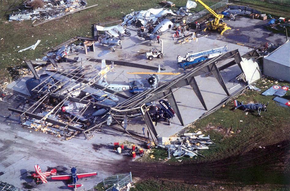 Hurricane Andrew clean-up of Weeks Air Museum two weeks after August 24, 1992