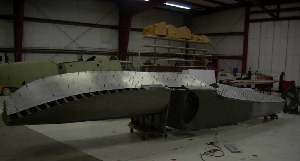 Inverted Duck Hull being prepared for new Belly Skins